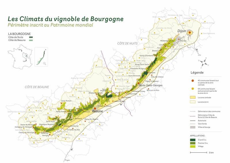 Carte des Climats du vignoble de Bourgogne