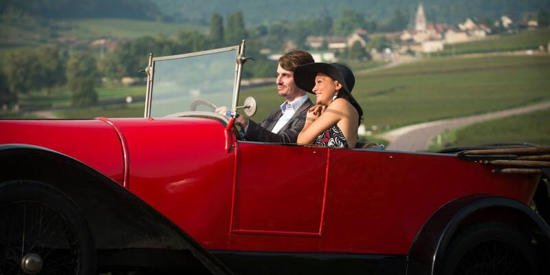 Bugatti dans les vignes, Route des grands crus autour de Beaune